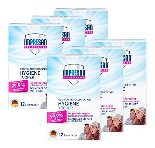 Impresan Hygiene-Tücher: Feuchte Desinfektionstücher - Oberflächen-Desinfektion - 6 x 12 Stück im praktischen Vorteilspack