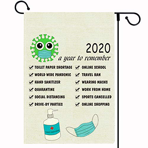 FaCraft 2020 Christmas Graden Flag,12.5x18 Inch Double Sided Christmas Flag Burlap with Face Mask, A Year to Remember Quarantine Yard Flag for Outside Christmas Decorations