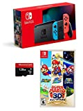 Newest Nintendo Switch 3 Items Bundle: Nintendo Switch Console Neon Red and Blue Joy-con,Super Mario 3D All-Stars ;Woov Micro SD 128 GB