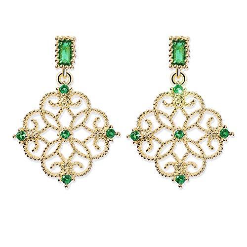 Kiccoum - Pendientes de estilo retro con nudo chino hueco, para boda, color verde