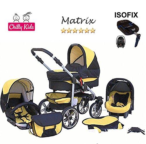 Chilly Kids Matrix 2 poussette combinée Set – hiver (chancelière, siège auto & ISOFIX, habillage pluie, moustiquaire, roues pivotantes) 41 noir & jaune