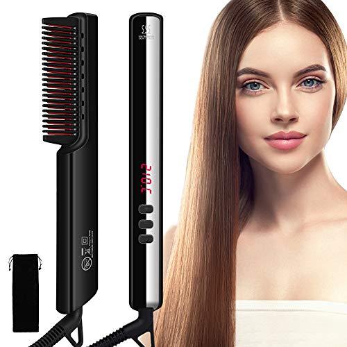 SAMEBOO Haarglättung Bürste, Hair Straightening Brush, Hair Straightening Comb, Ionischer Haarglätter Bürste 6 Temperaturgrade, Elektrische Haarkämme, Haarglättungsstyler LCD Anzeige/Auto-Off Funktion