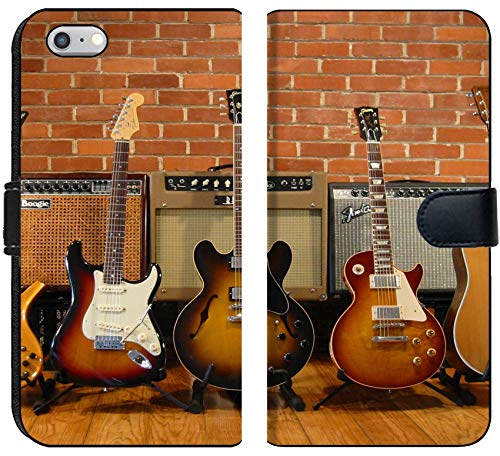 Apple iPhone 6 or 6S Flip Fabric Wallet Case Image of Music Guitar Electric Musical Instrument Wood Sound String Rock White Concert Jazz Object Background iso
