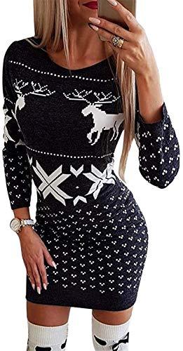 HAPPKING Weihnachtskleid Damen Damen Langarm Slim Fit Pulloverkleid Rundhals Weihnachtspullover Kleid Weihnachtskleid Strickkleid Langer Pullover (Farbe : A6, Größe : XL)