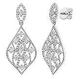 Naava Pendientes para Mujer de Oro Blanco 18K con Diamante