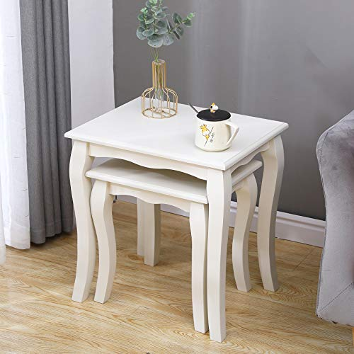 SogesHome Wooden Nesting Coffees End Tables for Living Room Bedroom Home Office Set of 2 White,SH-BSB-009-W