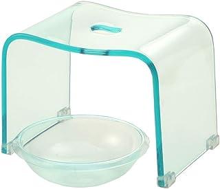 アクリル バスチェア&ボウルセット 風呂椅子 洗面器 セット Mサイズ 高さ25cm 透明カラー (クリアブルー)