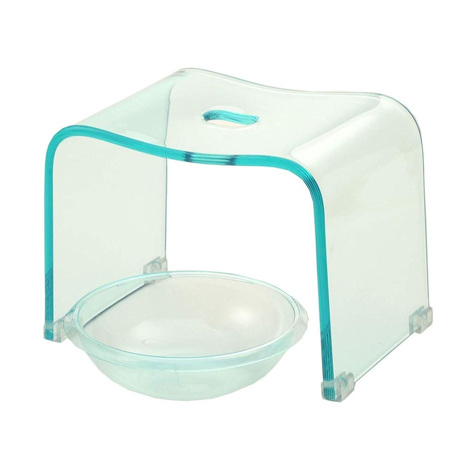 手入れシーン大邸宅アクリル バスチェア&ボウルセット 風呂椅子 洗面器 セット Mサイズ 高さ25cm 透明カラー (クリアブルー)