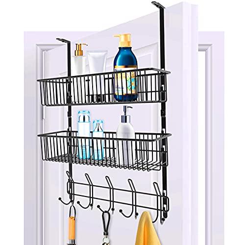 Sobre la puerta Gancho para colgar 10 ganchos para colgar organizador de estantes con 2 rejillas de malla para almacenamiento, canasta de alambre negro para el organizador