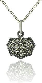 Daesar Sterling Silver Women's Necklace Mens Octagon Money Bag Rhinestones CZ Silver Pendant Necklace
