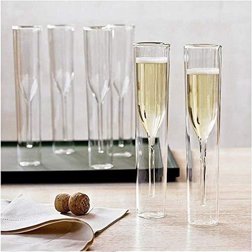 yui Linda taza de té de cristal de champán doble pared Copas copa copa copa de vino de burbujas tulipán copa de cóctel de boda vaso grande taza de té (color 1 taza)