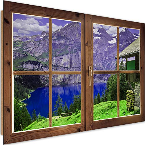 Cuadro Imagen XXL Ventana Falsa Impresión de Arte Montes Lago Multi 120x80 cm