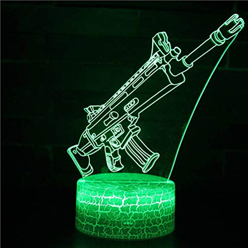 DBSUFV Gun Series 3D LED Nachtlicht mit 7 Farben Licht für die Inneneinrichtung Amazing Illusion Night Light Lampe