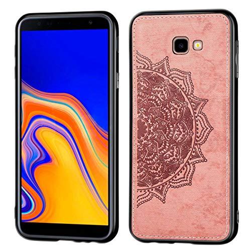 ZDCASE Funda para Galaxy J4+, Mandala Patrón Tela + TPU Suave Parachoque Built-in Magnético Parche A Prueba de Choques Protectora Funda para Samsung Galaxy J4 Plus / J4+ - Oro Rosa