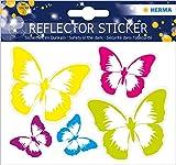 HERMA 19192 Reflektor Aufkleber mit Schmetterling Motiven, selbstklebende Leuchtaufkleber für Kinderzimmer, Dekoration, Fahrrad, Fahrradhelme und Koffer, 5 Reflektorsticker für Kinder