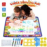 HUALEDI [Large size] doodle mats,Magic Mat, Water drawing doodle mat toddler,doodle mats in 6 Colors [More tool] 4 Magic Pens 1 Brush[30X30 In] gift/toys 1/2/3/4 year old boy