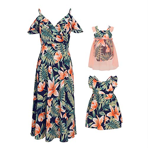 PopReal Mommy and Me Dresses Floral Print Cold Shoulder Ruffle Backless Strap Beach Midi Dress Summer Green