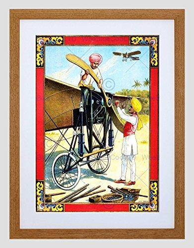 Wee Blue Coo Commerciële Advert Propellor Vliegtuig Kit Sikh India Omlijst Muur Art Print