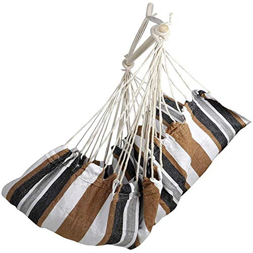 dehong XXL Sensory Swing Hammock with Wooden Stick + Pillow,100x130cm (Load Capacity 200 kg) Brown Toddler Garden Swing for Indoor/Outdoor Yard Garden Tree Patio Porch Hanging Chairs