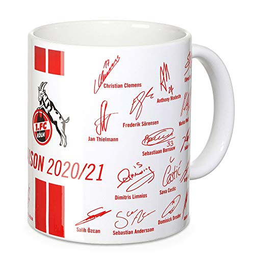 1. FC Köln Tasse Unterschriften 2020/2021 Kaffeetasse, Mug - Plus Lesezeichen I Love Köln
