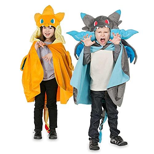 Disfraz de Pokémon para cosplay para niños, tela de licra, capa de Halloween, disfraz de Charmander, película con sombrero para cumpleaños de niños y niños pequeños, de 2 a 10 años, color nara