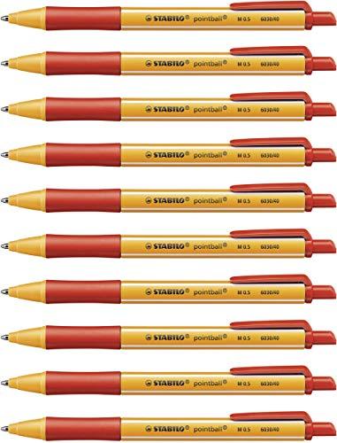 Druck-Kugelschreiber - STABILO pointball - 10er Pack - rot