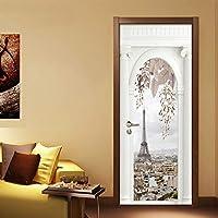 ZWYCEX ドアステッカー 2個セット/ DIY自己接着防水ドアステッカーヨーロッパローマンスタイルのリビングルームの研究ベッドルームドアポスター写真の壁紙3D (Sticker Size : 95x215cm)