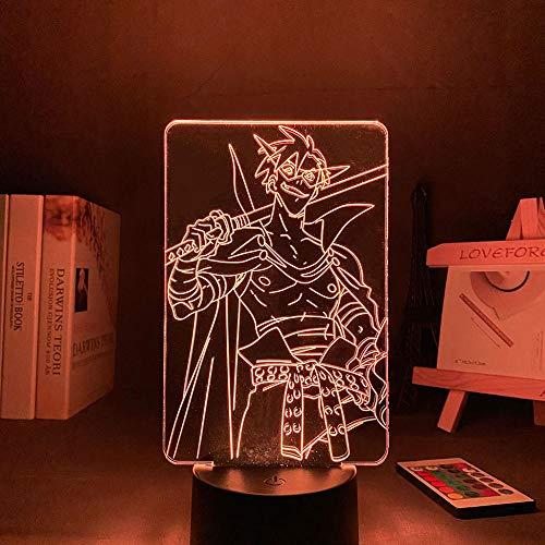 Anime - Lámpara 3D con forma de guitarra, diseño de guirnaldas y camina, luz nocturna LED para decoración de habitaciones, 16 colores, mando a distancia