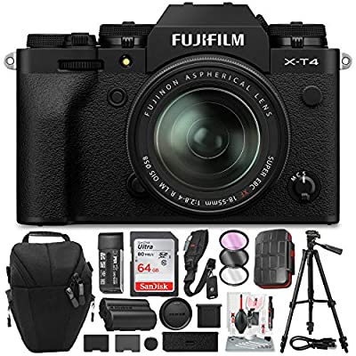 FUJIFILM X-T4 Mirrorless Digital Camera (Black) with 64GB Memory Card, Essential Accessories, 3 Lens Filter Kit, and Tripod Bundle from FUJIFILM