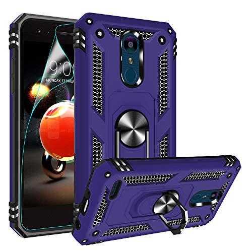 Compatible for LG Tribute Empire Case, LG Aristo 3/Aristo 2/Rebel 4 LTE/Aristo 2 Plus/Phoenix 4/Tribute Dynasty/Zone 4 Case, Gritup Metal Ring Kicktand Cover Phone Case for LG K8 2018 Purple