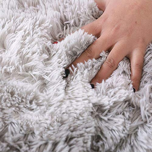 HWZONEカーペット洗えるラグ北欧長方形ラグマット極厚毛足約4.0cm絨毯防ダニ滑り止め付抗菌防臭ふわふわ四季通用冷房床暖房対応(グレー,120×200cm)