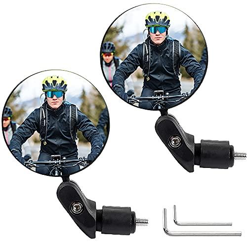 YeenGreen Rétroviseur Cycliste Rotatif, 2 Pièces Retroviseur Velo Vintage, Lentille Grand Angle du Miroir de Guidon, pour Vélo Électrique, Vélo de Course, Vélo de Montagne, Cyclomoteur