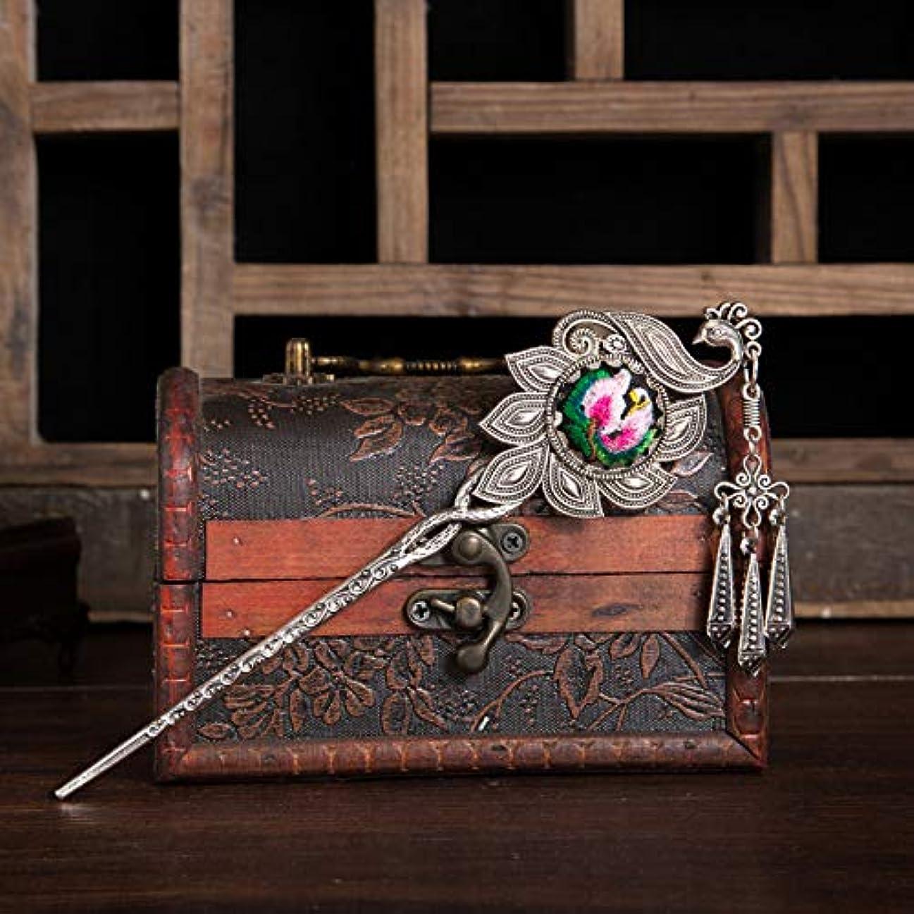 知覚できる予測子刺繍HuaQingPiJu-JP ハンドメイドフラワータッセルヘアピン刺繍ヘアアクセサリー(レッド)