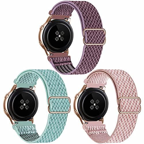 SSEIHI 20mm 3pack Correa Compatible con Samsung Galaxy Watch 4/Watch 4 Classic/Watch Active 2(40mm/44mm)/Watch 3 41mm/Watch 42mm/Gear S2,Pulsera Nylon Banda,SmokeyMauve/MarineGreen/RosePink,20mm