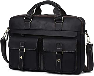 LIMING Men's Briefcase Mens Leather Satchel Office Briefcase Vintage Style Messenger Shoulder Tote Bag 15 inch Laptop Hand...