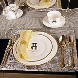 Juegos de Vajillas 24 Piezas de Porcelana, Restaurante Bone China Steak Plate Cerámica Western Food Plate Taza y Plato de café Familias, Entretenidas y Cenas