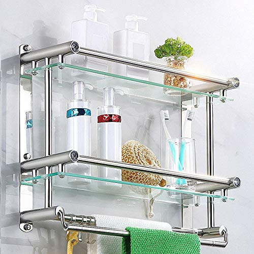 Tempered Glass Bathroom Shelf, 2-Tier Wall Mounted Shower Shelf Storage Bracket with Towel Hanger