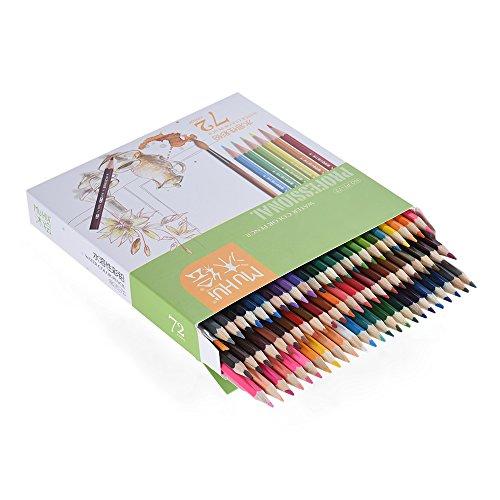 KKmoon 72 color Premium pre-sharpened agua soluble en agua lápices de colores Set con cepillo para niños adultos artista arte dibujo escritura arte para colorear libros