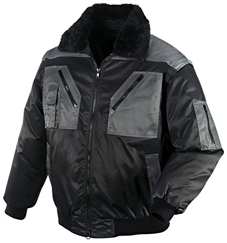 securesse Pilotenjacke 4 in 1-Funktion warme Winterjacke Arbeitsjacke Outdoorjacke (S, Schwarz/Anthrazit)