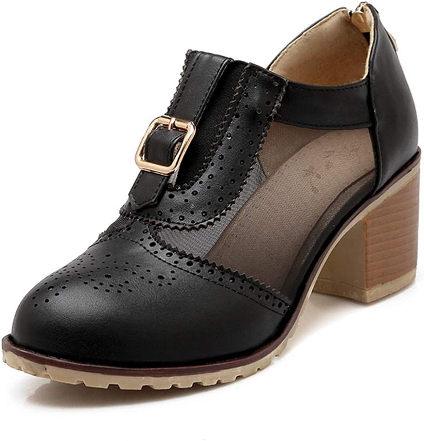 Beautiful - Fashion Women's Platform Buckle Oxford Pump Chunky Mid Heel Mesh Perforated Zipper Vintage Dress Oxfords shoes