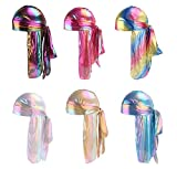 HADM Silky Durags for Men/Womens Waves Cap,Extra Long-Tail Holographic Headwraps for 360 Waves …