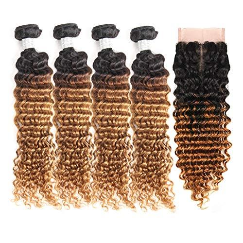 Brazilian Ombre Deep Wave Human Hair Bundles with Closure Two Tone Deep Wave Human Hair 4 Bundles with Lace Closure(12...
