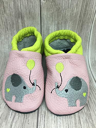 Lederpuschen Krabbelschuh Lauflernschuh Hausschuhe Baby #Elefant