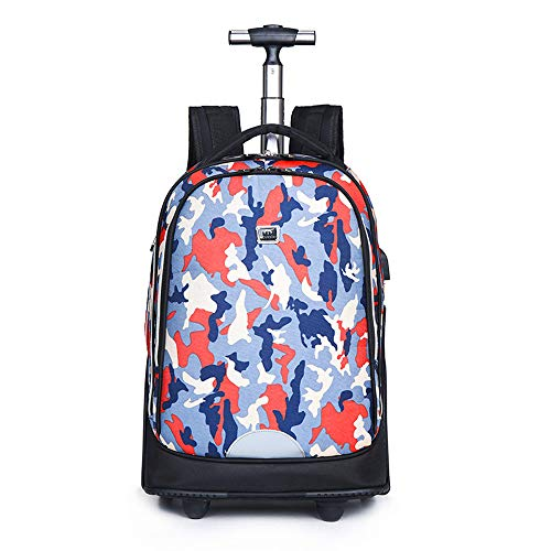 FREETT Unisex Trolley Backpack, High Capacity Trolley Suitcase, Luggage Case Bag for Child Student and School, Waterproof,2