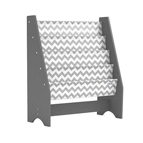 Pidoko Kids Sling Bookcase, Grey with Chevron | Wooden Children's Bookshelf with Pocket Storage Book Rack - Canvas
