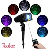 Cheriee Laser Christmas Lights 7 Colors Outdoor White Star Projector with RF Remote Control Landscape Spotlight for Christmas, Holiday, Parties,and Garden Xmas Decoration