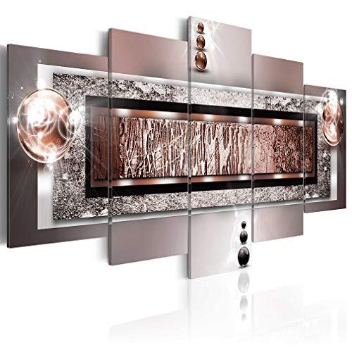 decomonkey Bilder Abstrakt 200x100 cm XXL 5 Teilig Leinwandbilder Bild auf Leinwand Wandbild Kunstdruck Wanddeko Wand Wohnzimmer Wanddekoration Deko | Modern