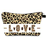 YQBOOM Leopard Cosmetic Bag Small Makeup Pouch Adorable Roomy Zipper Pouch Multifunction Makeup Bags for Women Girls Boys-Cheetah Print Beauty Bag