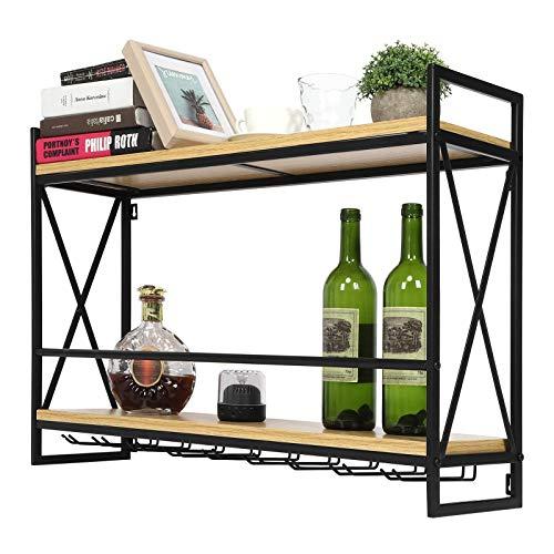 Greensen - Soporte de pared para botellas de vino, soporte para botellas de pared, para botellas, de pared, con 2 niveles para cocina, restaurante, vino y bar – 20 x 53,5 x 80 cm