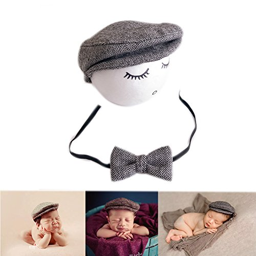 Accesorios de fotografía para bebé recién nacido tejidos a ganchillo: gorra con visera y moño gris claro Talla:mediano